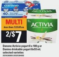Danone Activia Yogurt - 8 X 100 G Or Danino Drinkable Yogurt - 8x93 Ml