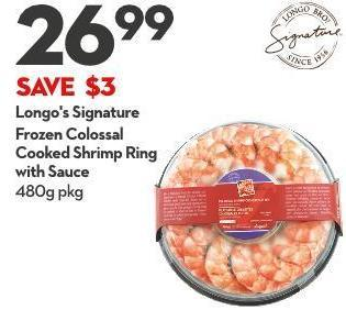 Longo's Signature Frozen Colossal  Cooked Shrimp Ring With Sauce 480g Pkg