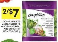 Compliments Caesar - Sante Fe or Oriental Salad Kits Product of USA 284-382 g