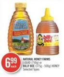 Natural Honey Farms Liquid (750g) or Billy Bee (375g - 500g) Honey