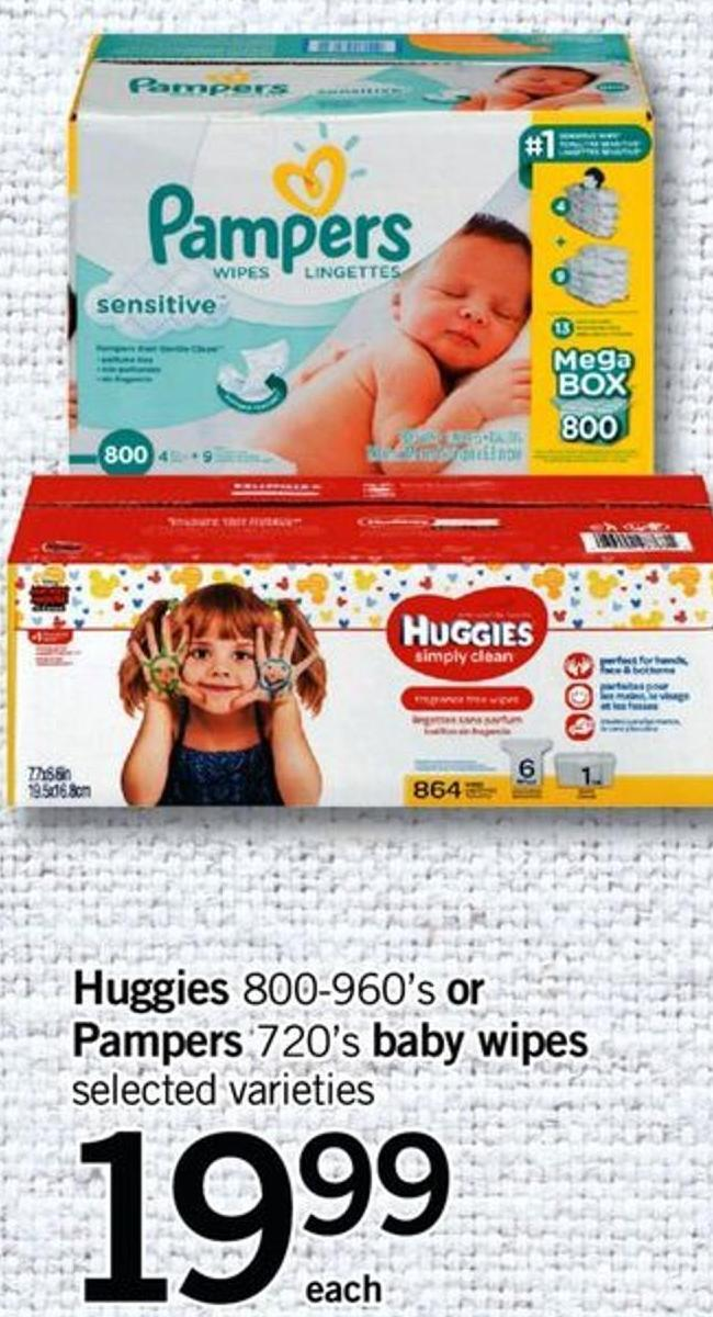 Huggies - 800-960's Or Pampers - 720's Baby Wipes