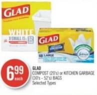 Glad Compost (20's) or Kitchen Garbage (30's - 52's) Bags