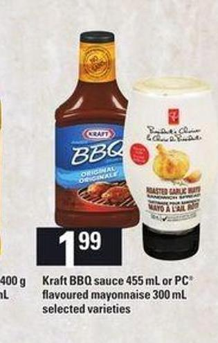 Kraft Bbq Sauce 455 Ml Or PC Flavoured Mayonnaise - 300 Ml
