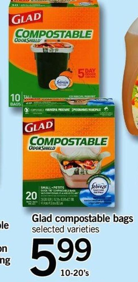 Glad Compostable Bags - 10-20's