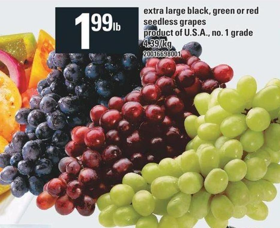 Extra Large Black - Green Or Red Seedless Grapes