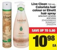 Live Clean - 720 Ml - Colorista Hair Colour Or Elnett Hair Spray