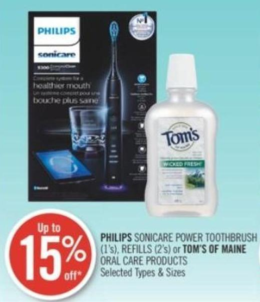 Philips Sonicare Power Toothbrush (1's) - Refills (2's) or Tom's Of Maine Oral Care Products