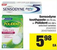 Sensodyne Toothpaste 65-75 mL Or Polident - 84-96's
