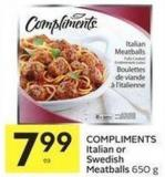 Compliments Italian or Swedish Meatballs 650 g