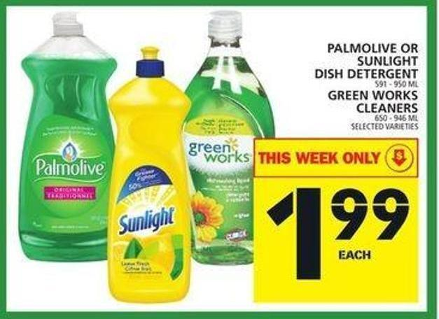Palmolive Or Sunlight Dish Detergent Or Green Works Cleaners