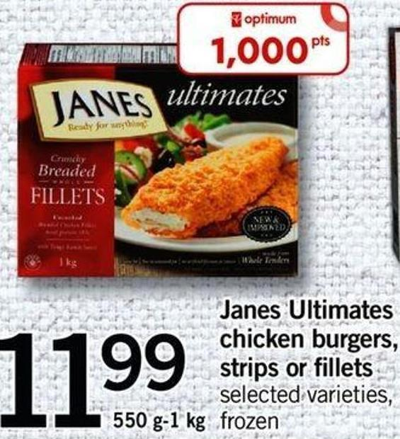 Janes Ultimates Chicken Burgers - Strips Or Fillets - 550 G-1 Kg