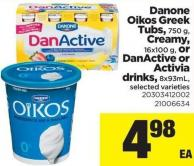 Danone Oikos Greek Tubs - 750 G - Creamy - 16x100 G - Or Danactive Or Activia Drinks - 8x93ml