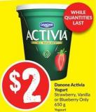 Danone Activia Yogurt Strawberry - Vanilla or Blueberry Only 650 g
