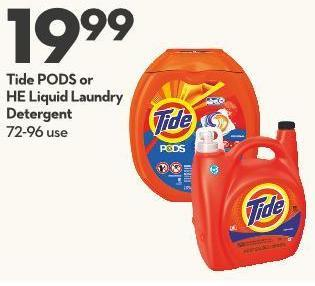 Tide PODS or  HE Liquid  Laundry Detergent 72-96 Use