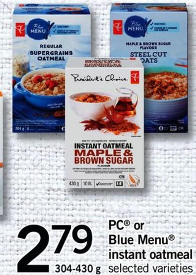 PC Or Blue Menu Instant Oatmeal - 304-430 G