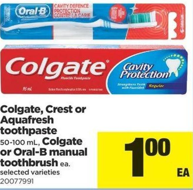 Colgate - Crest Or Aquafresh Toothpaste - 50-100 Ml - Colgate Or Oral-b Manual Toothbrush