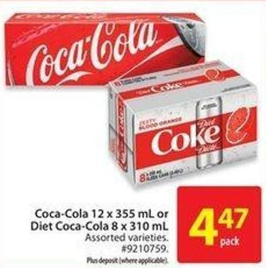 Coca Cola Coca-cola 12 X 355 mL or Diet Coca-cola 8 X 310 mL
