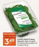 Compliments Baby Spinach - Baby Arugula or Spring Mix Product of Canada 142 g