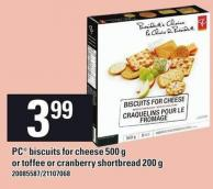 PC Biscuits For Cheese 500 G Or Toffee Or Cranberry Shortbread 200 G