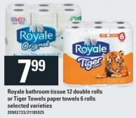 Royale Bathroom Tissue 12 Double Rolls Or Tiger Towels Paper Towels 6 Rolls