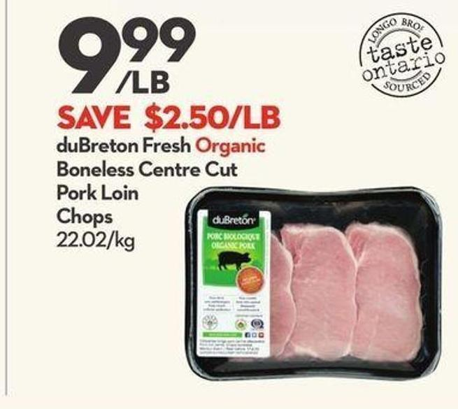 Dubreton Fresh Organic Boneless Centre Cut Pork Loin Chops