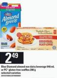Blue Diamond Almond Non Dairy Beverage - 946 Ml Or PC Gluten-free Waffles - 280 G
