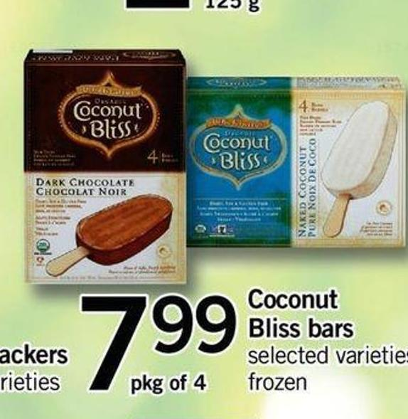 Coconut Bliss Bars - Pkg Of 4