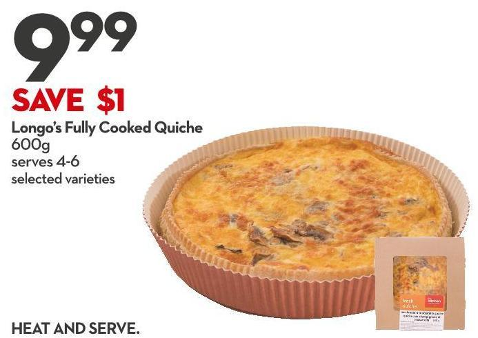 Longo's Fully Cooked Quiche  600g
