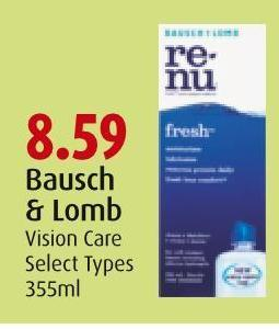 Bausch & Lomb Vision Care Select Types 355ml