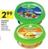 Summer Fresh Dips or Hummus Selected 200-227 g