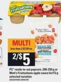 PC Ready-to-eat Popcorn 200-250 G Or Mott's Fruitsations Apple Sauce 6x113 G
