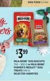 Milk-bone Dog Biscuits - 750-900 G Or Milk-bone Farmer's Medley Dog Treats - 340 G