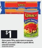 Unico Pasta 750 G - Pasta Sauce Or Passata 680 Ml - Pizza Sauce 398 Ml Or Paste 369 Ml