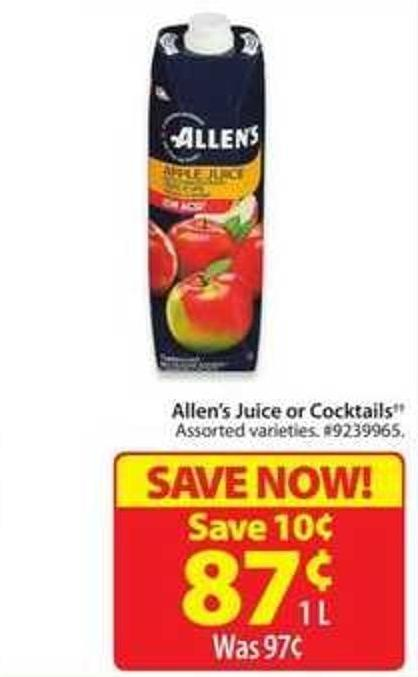 Allen's Juice or Cocktails