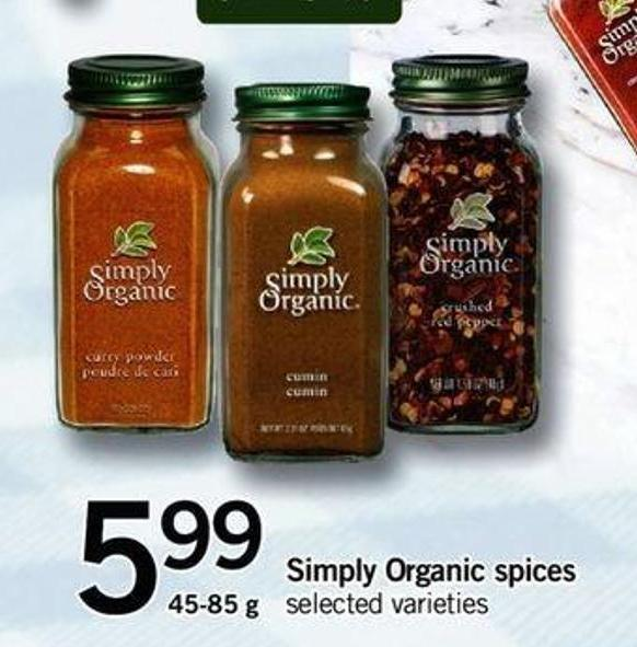 Simply Organic Spices - 45-85 G