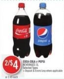 Coca-cola or Pepsi Beverages 1l