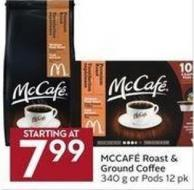 Mccafé Roast & Ground Coffee 340 g or Pods 12 Pk
