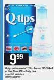 Q-tips Cotton - Swabs 1170's - Aveeno - 223-354 mL Or Live Clean 750 - mL Baby Care