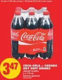 Coca-cola or Canada Dry Soft Drinks 6 X 710 mL