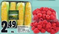 Raspberries 170 G - Sweet Corn 4 Pk Tray