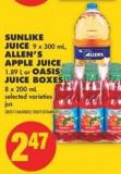 Sunlike Juice 9 X 300 mL - Allen's Apple Juice 1.89 L or Oasis Juice Boxes 8 X 200 mL