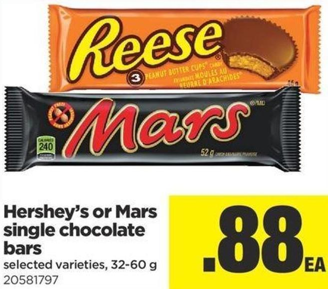 Hershey's Or Mars Single Chocolate Bars - 32-60 g