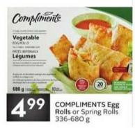 Compliments Egg Rolls or Spring Rolls 336-680 g