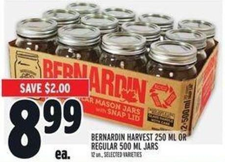 Bernardin Harvest 250 Ml Or Regular 500 Ml Jars