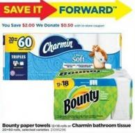 Bounty Paper Towels - 12=18 Rolls Or Charmin Bathroom Tissue - 20=60 Rolls