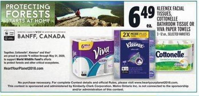 Kleenex Facial Tissues - Cottonelle Bathroom Tissue Or Viva Paper Towels