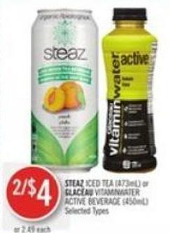 Steaz Iced Tea (473ml) or Glacéau Vitaminwater Active Beverage (450ml)