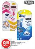 Schick Intuition F.a.b. - Hydro 5 or Silk Disposable Razors 3's