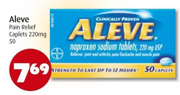 Aleve Pain Relief Caplets 220mg 50