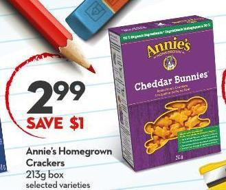 Annie's Homegrown Crackers 213g Box